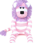 'Lara' the Sock Lion - pink and purple - *READY TO POST*