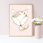 A4 Print -  Fox Nursery Art Print, Pink Birch Child's bedroom