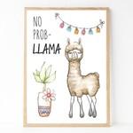 A4 Print - Funny Wall Art Print -  Llama 'No Prob Llama'