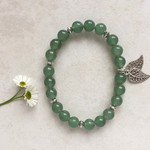Jade Gemstone & Tibetan Leaf Charm, Bead Bracelet