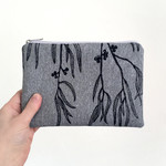 Screen printed Eucalyptus pouch / clutch / purse / wallet