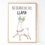 A4 Print - Funny Wall Art Print -  Llama 'No Drama for this Llama'