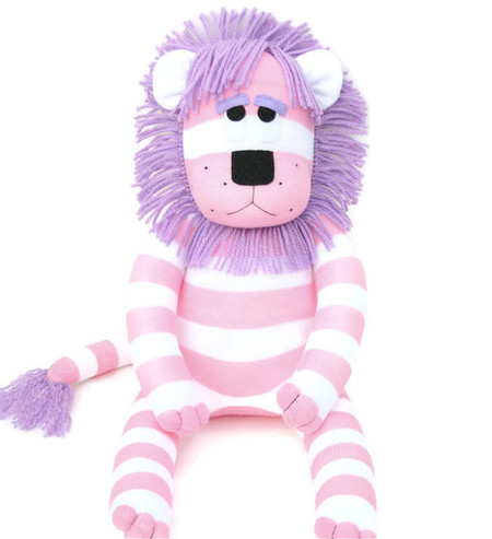 'Lara' the Sock Lion - pink and purple - *MADE TO ORDER*
