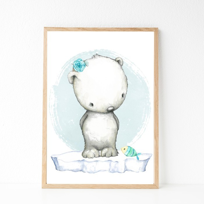 A4 Print Arctic Polar Bear Nursery Art Child S Bedroom Décor