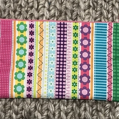 Flowers and stripes pencil case