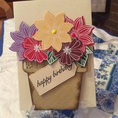 Feminine birthday card. Flower pot card.Free postage!