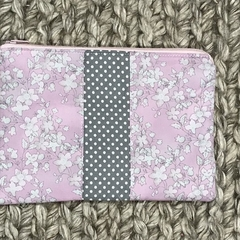 Pink and grey flowers purse