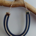 Cobalt blue and silver 5 strand necklace