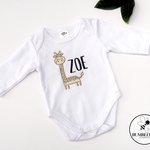 Cute Giraffe Personalised Baby Bodysuit, great new born or baby shower gift.
