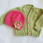 Wool knit newborn baby cardigan & hat set - as is for girl but see pics for boy!
