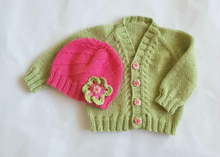 b44e6d5ec3fc Wool knit newborn baby cardigan   hat set - as is for girl but see ...
