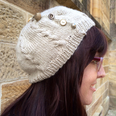 Beige Cabled Beret / Slouchy Beanie with Vintage Buttons