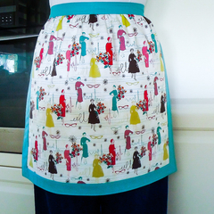 Half Apron Retro 50's Ladies Fashions - womens lined apron