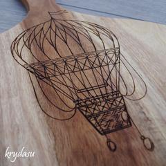 Wood Burnt Hot Air Balloon Acacia Cutting Board
