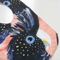 Black cockatoo print bib
