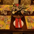 GIFT SETS: Placemats  Kimono Fan Mustard &  Luncheon Napkins in Lagoon.