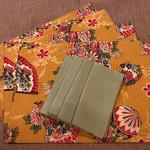 GIFT SET: 4 Placemats  Kimono Fan Mustard & 4 Luncheon Napkins in Lagoon.