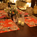 GIFT SETS:  Placemats  Kimono Fan Red & Luncheon Napkins in Red.