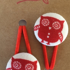 23mm Owl fabric button hairties
