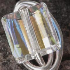 Sterling Silver Wire Wrap Ring Swarovski Crystal AB