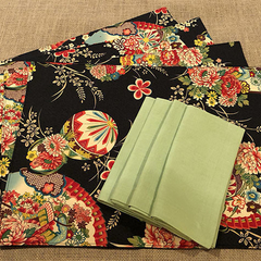 GIFT SETS: Placemats Kimono Fan Black & Luncheon Napkins in Lagoon.