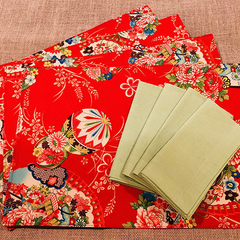 GIFT SETS:  Placemats  Kimono Fan Red &  Luncheon Napkins in Lagoon.