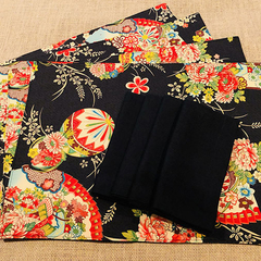 GIFT SETS:  Placemats  Kimono Fan Black & Luncheon Napkins in Black.
