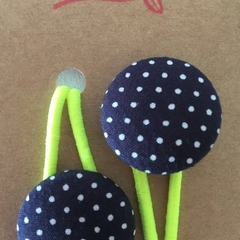 23mm Navy Dotty fabric button hairties