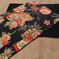 GIFT SETS: Placemats  Kimono Fan Black & Luncheon Napkins in Red.