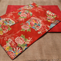 GIFT SETS: Placemats Kimono Fan Red & Dinner Napkins in Red.
