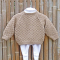 Woollen cardigan, textured, hand knit, boy or girl, size 0 - 1