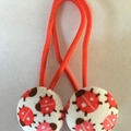 23mm Red Ladybird fabric button hairties