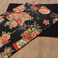 GIFT SETS: Placemats  Kimono Fan Black & Dinner Napkins in Red.
