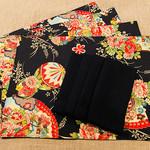 GIFT SET: 4 Placemats  Kimono Fan Black & 4 Luncheon Napkins in Black.