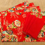 GIFT SET: 4 Placemats  Kimono Fan Red & 4 Dinner Napkins in Red.