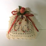 Ecru Hand Crocheted Lavender Bag with Rose Bud and Beads
