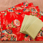 GIFT SET: 4 Placemats  Kimono Fan Red & 4 Dinner Napkins in Lagoon.