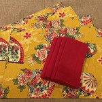 GIFT SET: 4 Placemats  Kimono Fan Mustard & 4 Dinner Napkins in Red.
