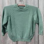 Handmade classic woollen jumper size 4, Eucalypt green
