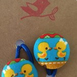 23mm Yellow Duckie fabric button hairties