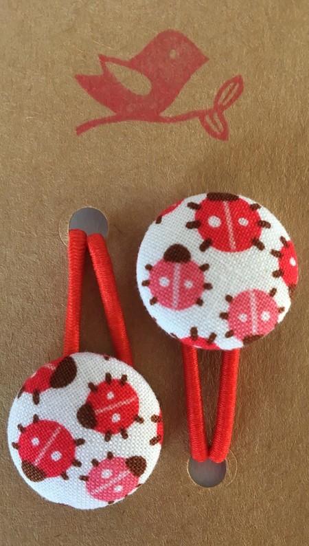23mm Red Ladybird fabric button hairties