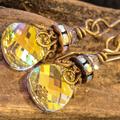 Swarovski Crystal & Brass Drop Earrings Crystal AB  Briolette