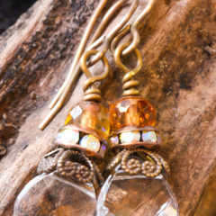 Swarovski Crystal & Brass Drop Briolette Earrings