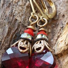 Swarovski Crystal & Brass Drop Earrings Ruby Briolette