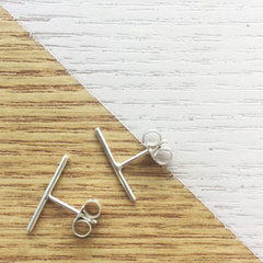 Mini Thin Bar Studs || Silver Earrings, Elegant, Eco Jewellery, Modern, Fine
