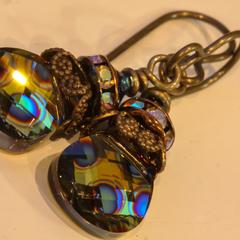 Swarovski Crystal & Brass Drop Earrings Peacock Eye Briolette