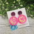 Glittering Pink - Button Shape Stud Dangle earrings