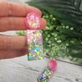 Super Sparkly Mermaid Twinkle Resin - Rectangle Stud Dangle earrings