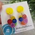 Teeny Tiny Buttons in Resin - Oval Stud Dangle earrings