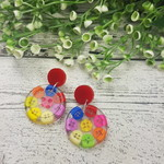 Teeny Tiny Buttons in Resin - Button Shape Stud Dangle earrings